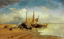 F.Vasilyev. View on the Volga. Barges. 1870